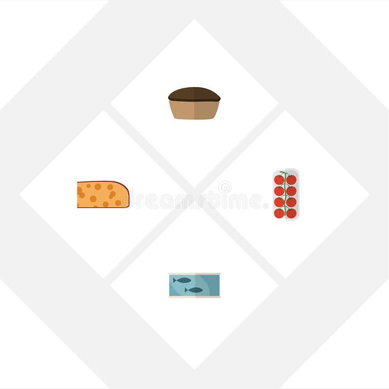 Plan symbolsmatuppsättning av för tomat, syrliga och annan för cheddar vektorobjekt för skiva, Inkluderar också pajen, tonfisk, s royaltyfri illustrationer