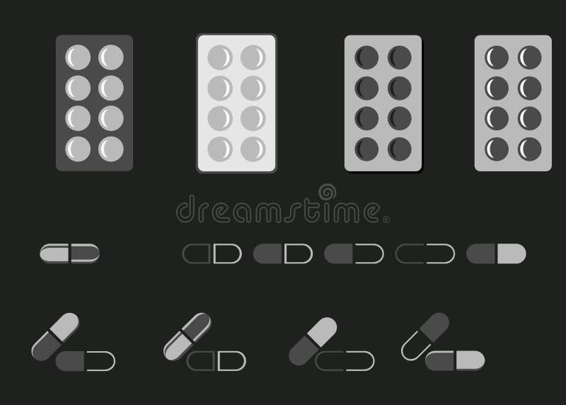 Plan symbolsmedicin Pills och kapslar också vektor för coreldrawillustration stock illustrationer