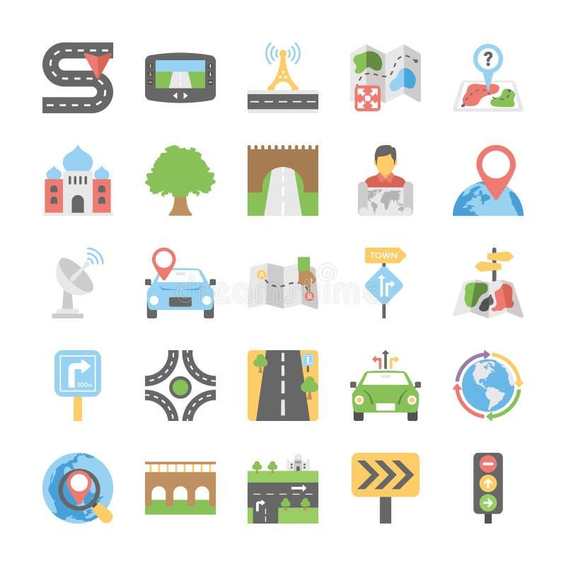 Plan symbolssamling av översikter och navigering royaltyfri illustrationer