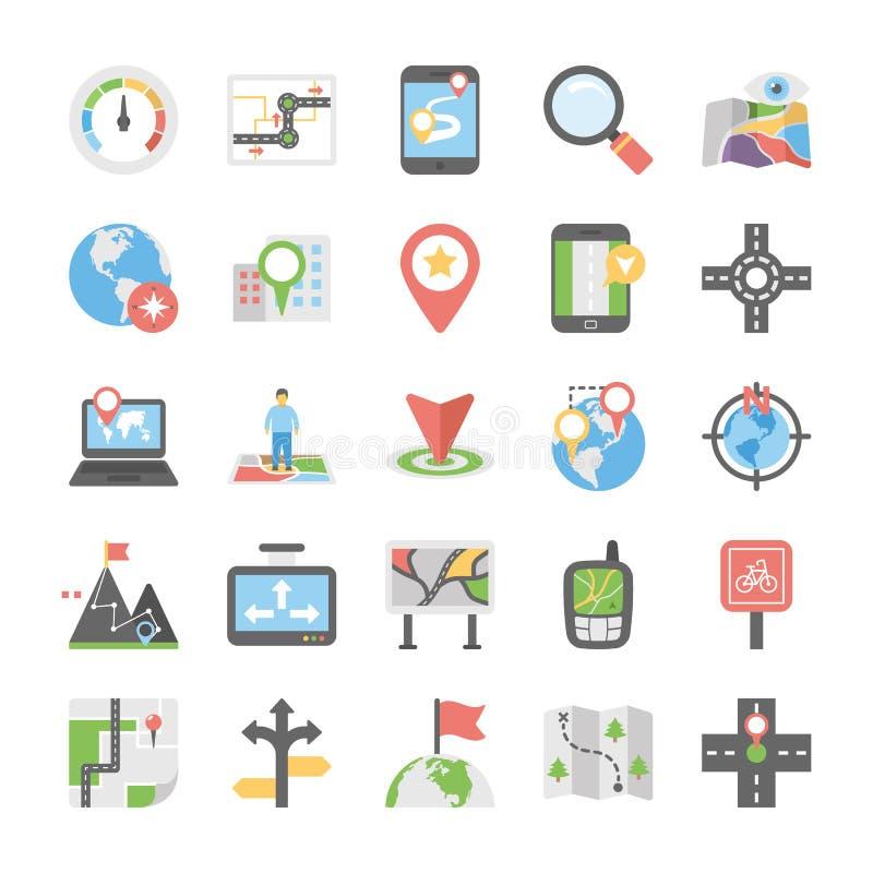 Plan symbolssamling av översikter och navigering vektor illustrationer