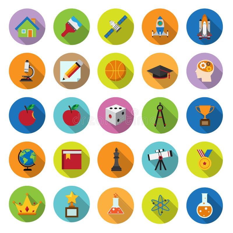 Plan symbolssamling med lång skugga royaltyfri illustrationer