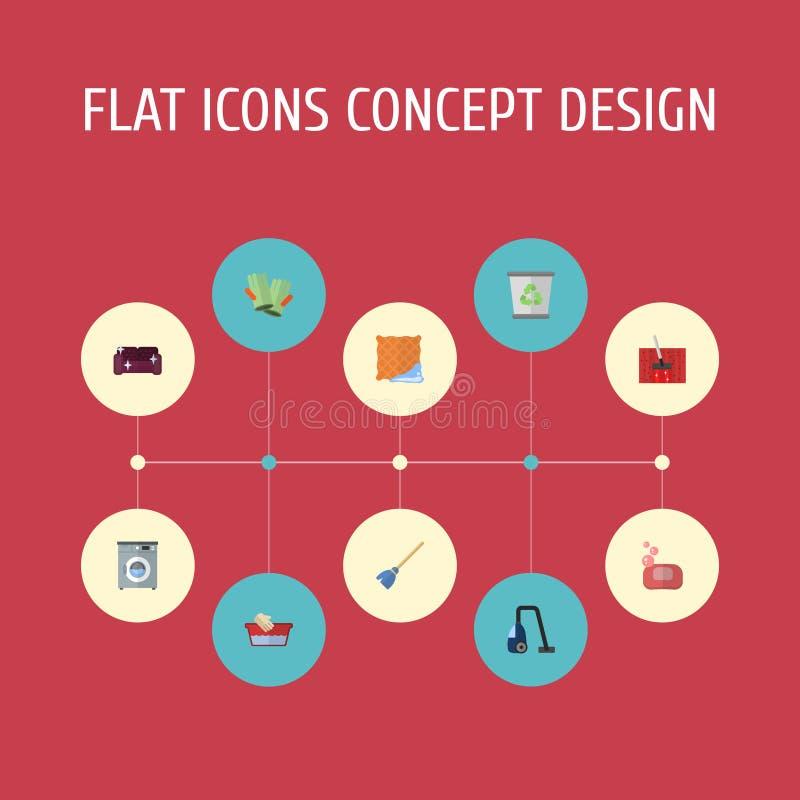 Plan symbolssopare, tvättinrättning, viska och andra vektorbeståndsdelar Uppsättningen av symboler för hygienlägenhetsymboler ink stock illustrationer