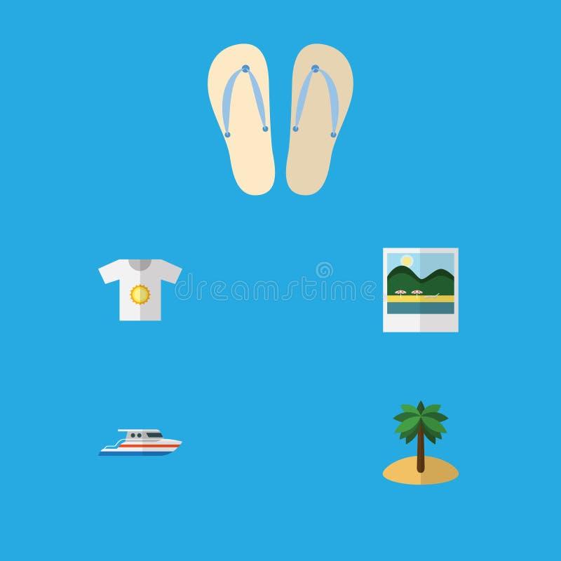 Plan symbolsstranduppsättning av fartyg, påminnelser, kokosnöt och andra vektorobjekt Inkluderar också skjortan, yachten, misslyc stock illustrationer