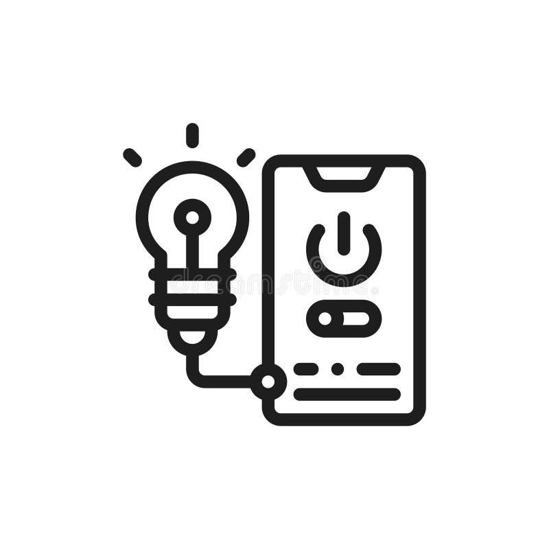 Plan symbolstelefonkontroll Begrepp av elektricitetsledning royaltyfri illustrationer