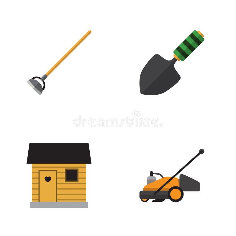 Plan symbolsträdgårduppsättning av gräsklipparen royaltyfri illustrationer