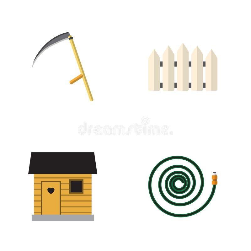 Plan symbolsträdgårduppsättning av Hosepipe, stallning, skärare och andra vektorobjekt Inkluderar också lien, barriären som är tr vektor illustrationer