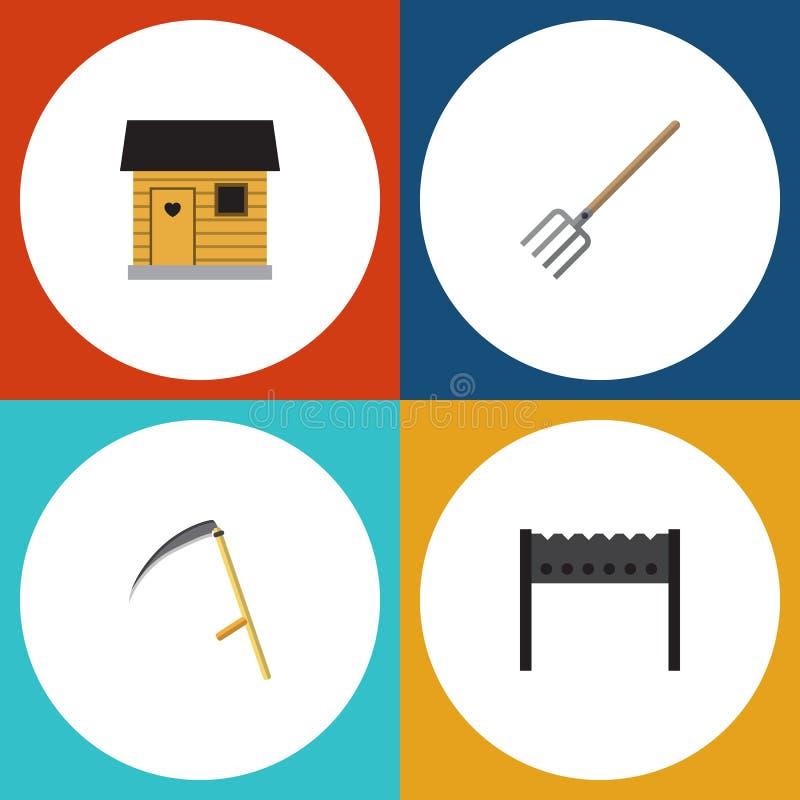 Plan symbolsträdgårduppsättning av skärare, Hay Fork, stallning och andra vektorobjekt Inkluderar också stallning, lien, lantbruk vektor illustrationer