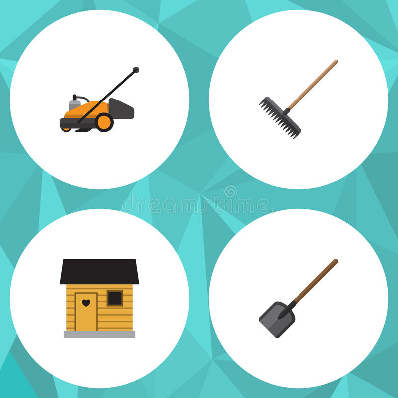 Plan symbolsträdgårduppsättning av skyffel, gräsklippare, stallning och andra vektorobjekt Inkluderar också ladugården, krattar,  stock illustrationer