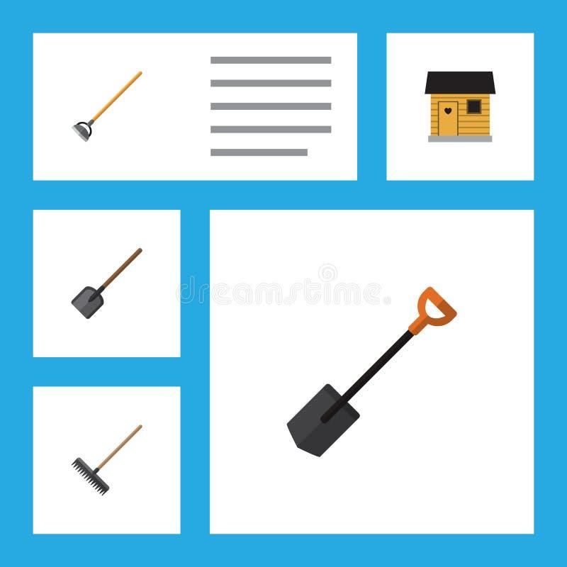 Plan symbolsträdgårduppsättning av skyffel, spade, stallning och andra vektorobjekt Inkluderar också spaden som arbeta i trädgård royaltyfri illustrationer