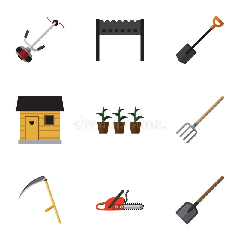 Plan symbolsträdgårduppsättning av skyffel, stallning, grillfest och andra vektorobjekt Inkluderar också botanik, stallning, blom vektor illustrationer