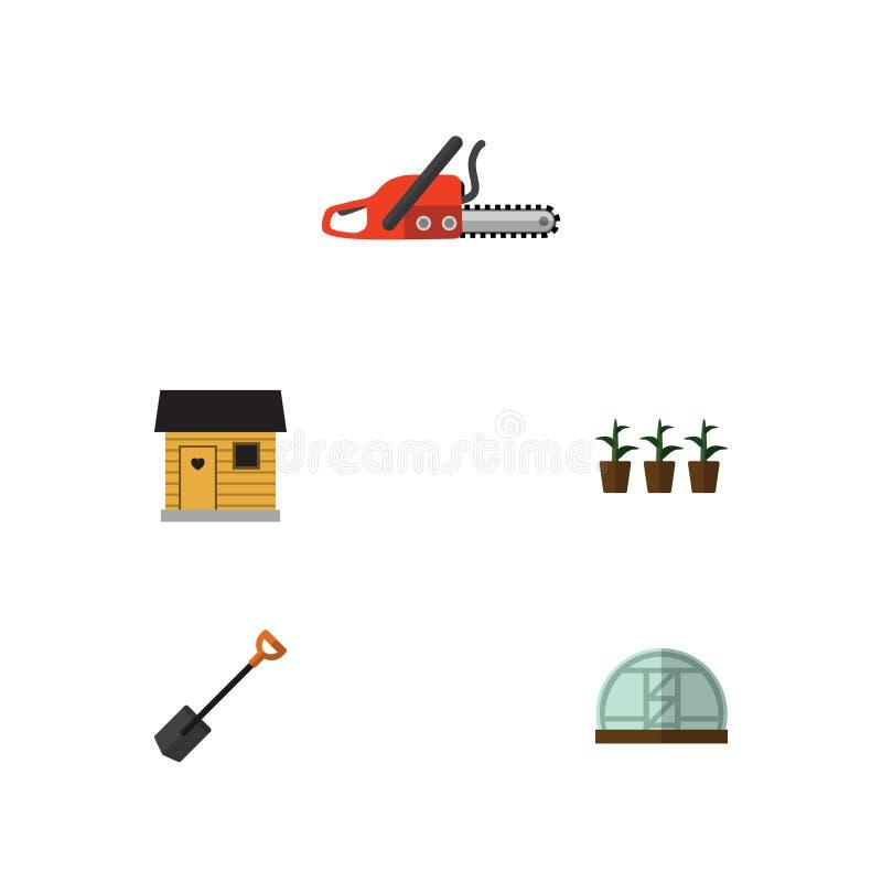 Plan symbolsträdgårduppsättning av spade, blomkruka, stallning och andra vektorobjekt Inkluderar också stallning, spaden, skyffel vektor illustrationer