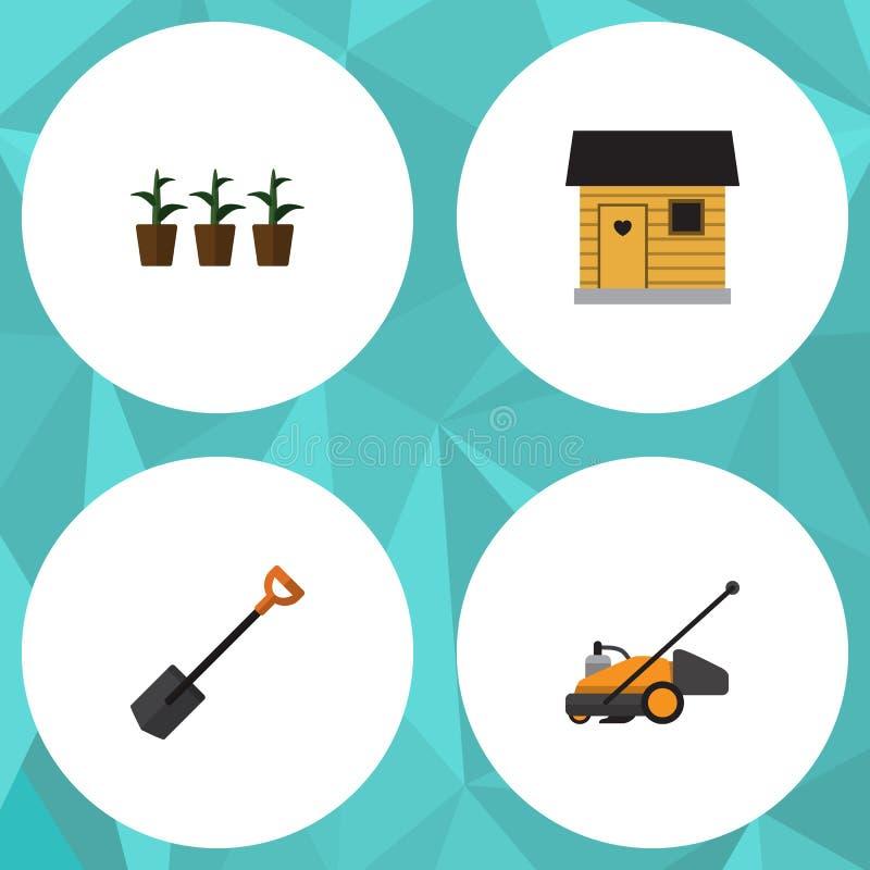 Plan symbolsträdgårduppsättning av stallning, gräsklippare, blomkruka och andra vektorobjekt Inkluderar också ladugården, skärare vektor illustrationer