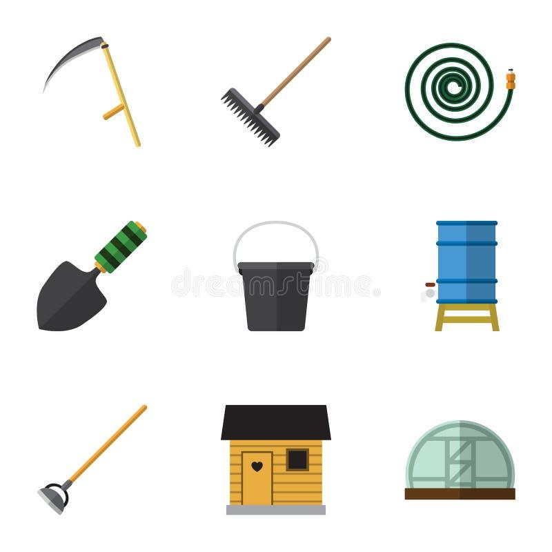 Plan symbolsträdgårduppsättning av stallning, hink, drivhus och andra vektorobjekt Inkluderar också skyffeln, trädgården, behålla stock illustrationer