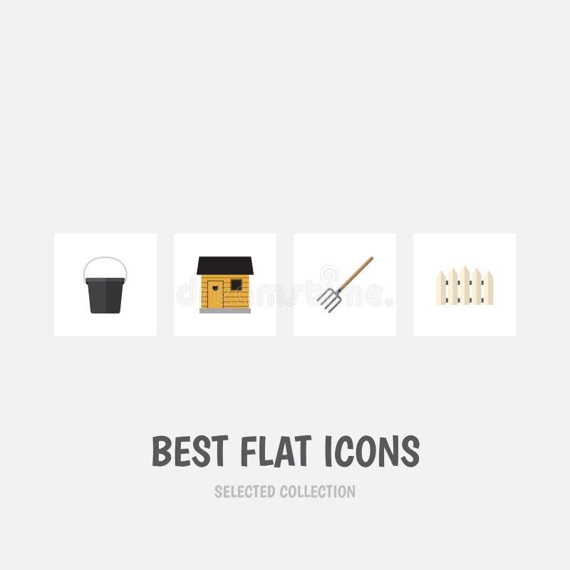 Plan symbolsträdgårduppsättning av stallning, träbarriär, Pail And Other Vector Objects Inkluderar också hjälpmedlet som är trä,  vektor illustrationer