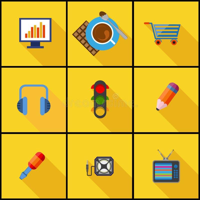 Plan symbolsuppsättning stock illustrationer