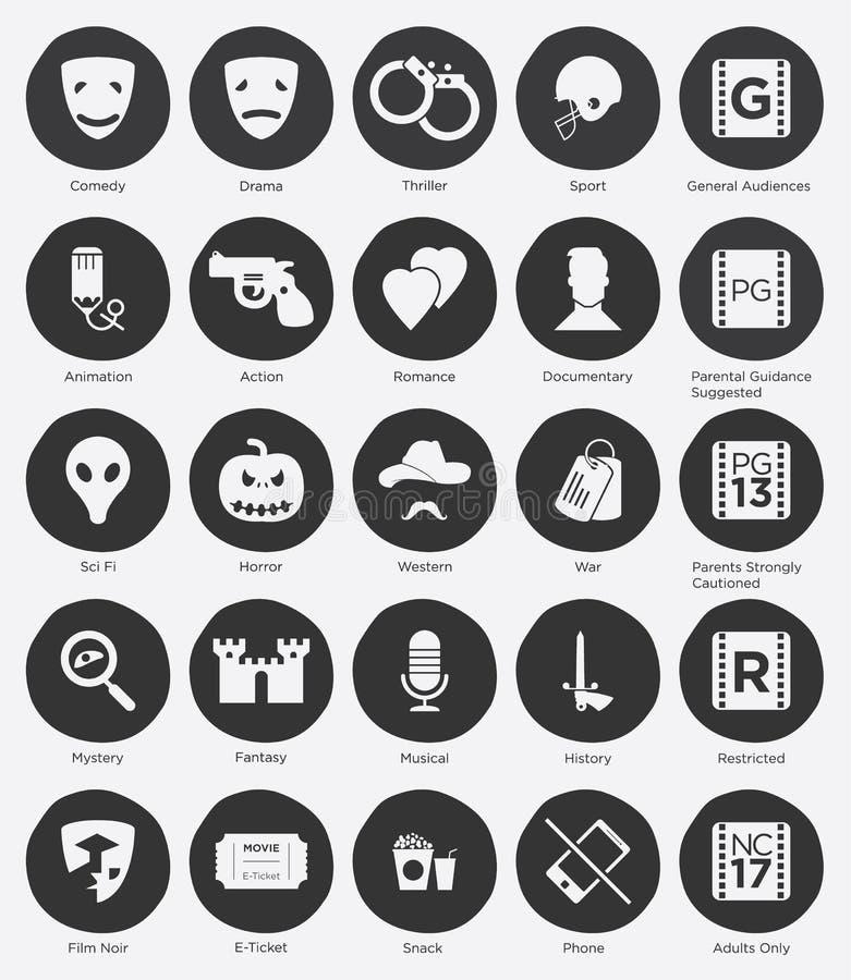 Plan symbolsuppsättning av den filmgenrer och rankningssystemmen royaltyfri illustrationer