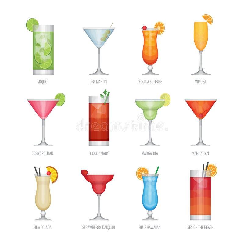 Plan symbolsuppsättning av den populära alkoholcoctailen Plan designstil, stock illustrationer