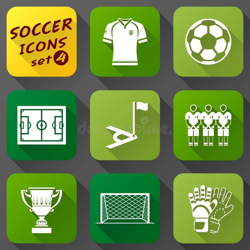 Plan symbolsuppsättning av fotbollbeståndsdelar royaltyfri illustrationer