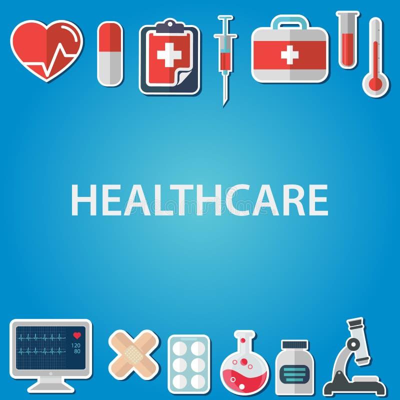 Plan symbolsuppsättning av läkarundersökninghjälpmedel och sjukvårdutrustning, vetenskapsforskning och hälsobehandlingservice Sti stock illustrationer