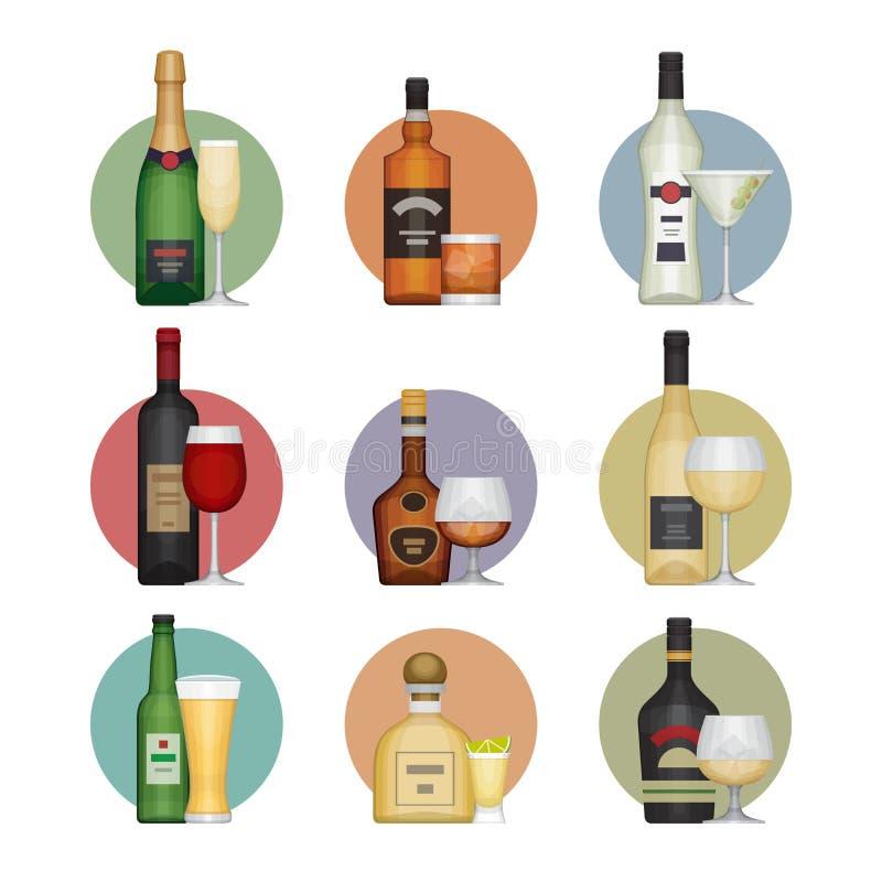 Plan symbolsuppsättning av populära olika alkoholdrycker med exponeringsglas stock illustrationer