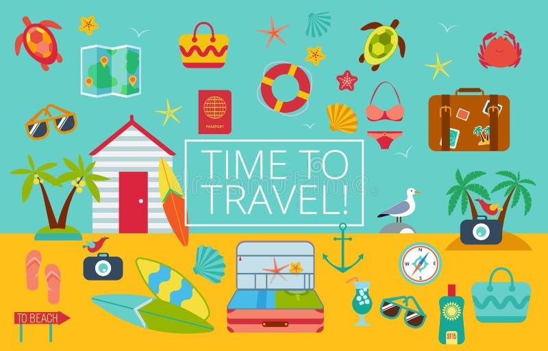 Plan symbolsuppsättning av resande stock illustrationer