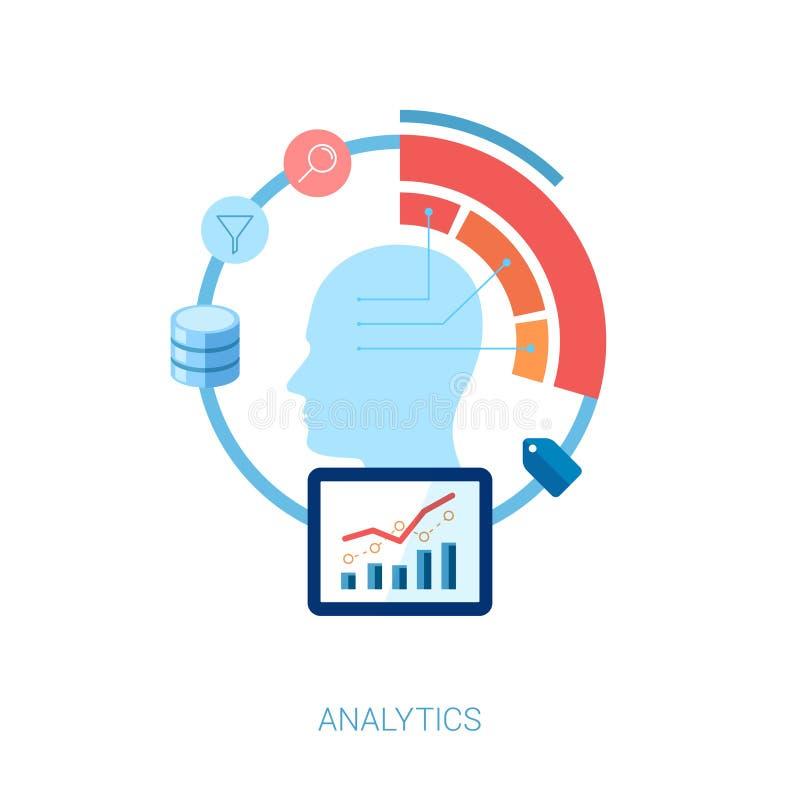 Plan symbolsuppsättning för analytiskt, databas, sökande och vektor illustrationer