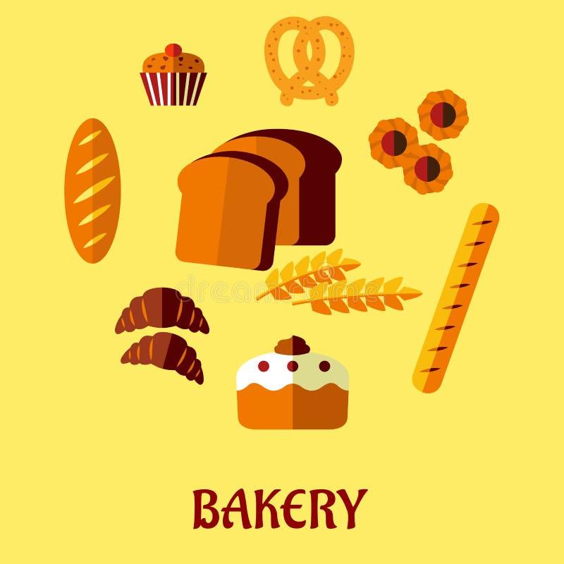 Plan symbolsuppsättning för bageri på gul bakgrund royaltyfri illustrationer