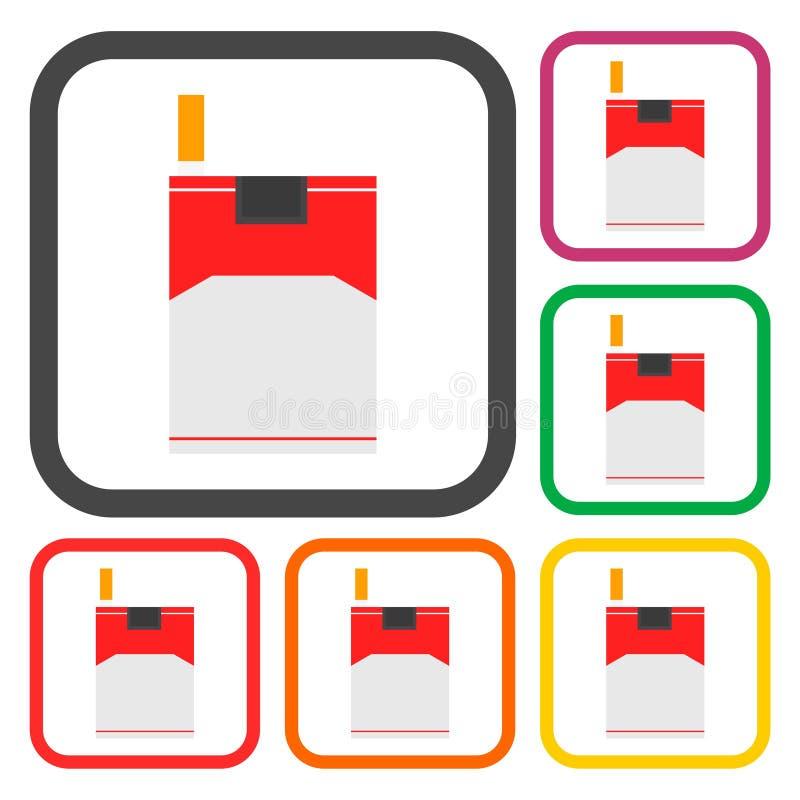 Plan symbolsuppsättning för cigarett stock illustrationer