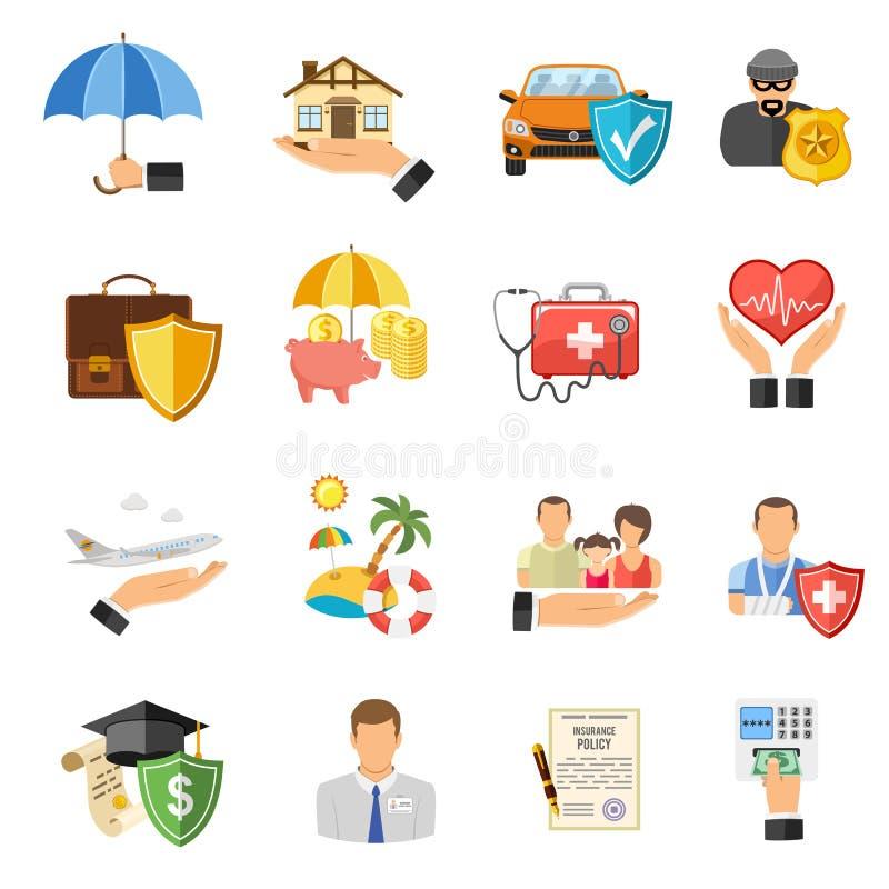 Plan symbolsuppsättning för försäkring stock illustrationer