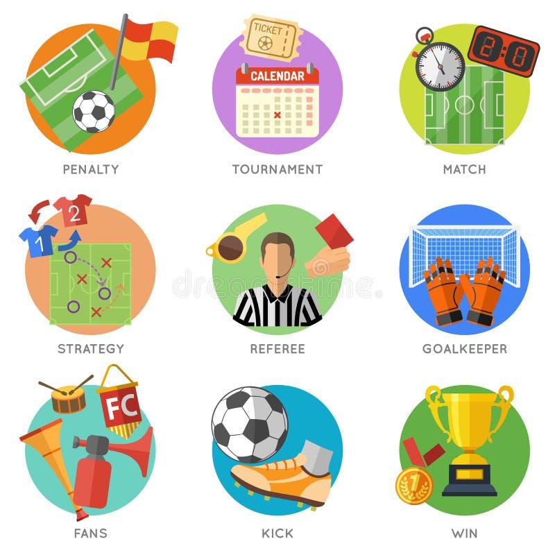 Plan symbolsuppsättning för fotboll stock illustrationer
