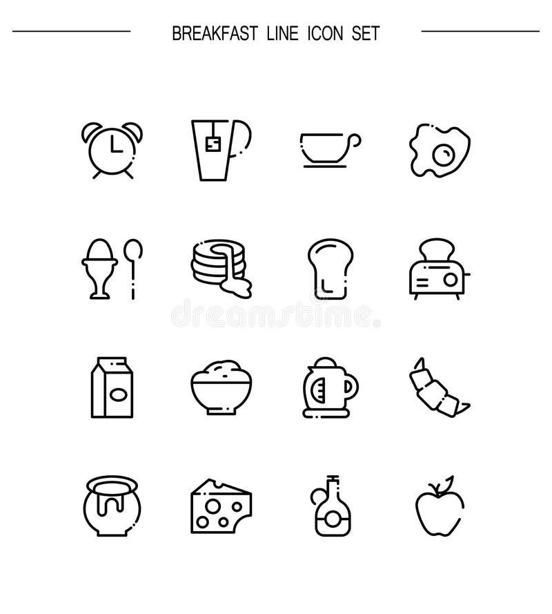 Plan symbolsuppsättning för frukost stock illustrationer