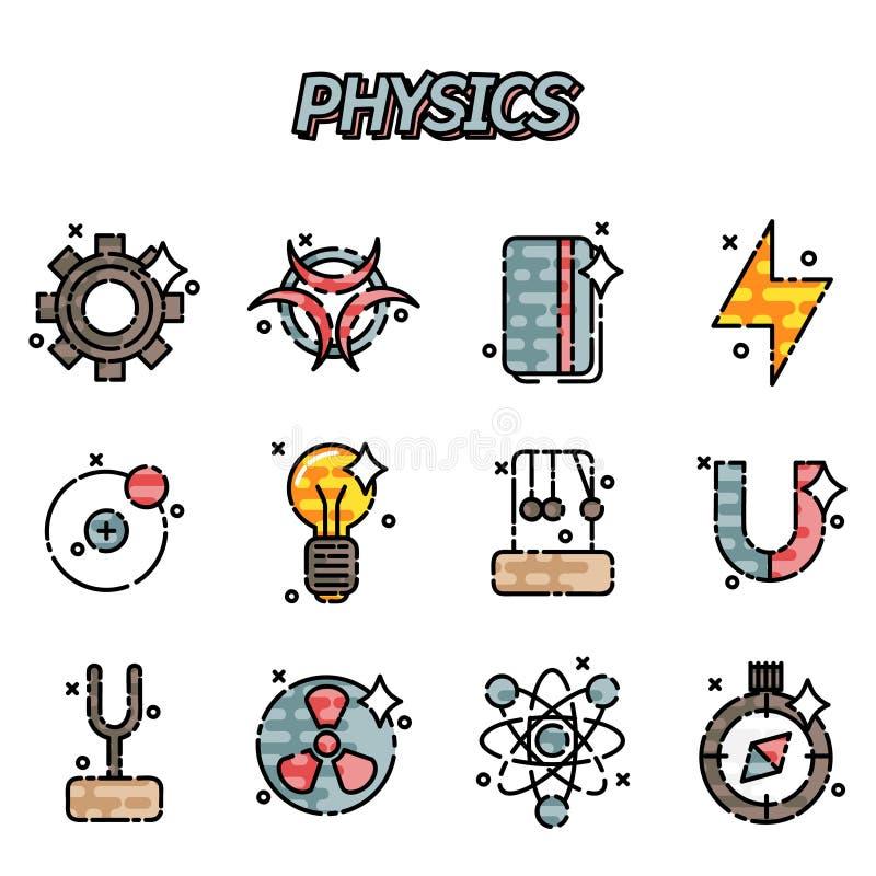 Plan symbolsuppsättning för fysik royaltyfri illustrationer
