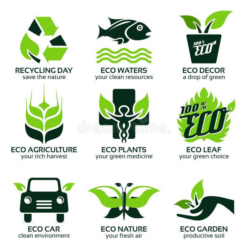 Plan symbolsuppsättning för grön econatur royaltyfri illustrationer