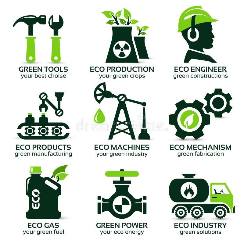 Plan symbolsuppsättning för grön ecoproduktion stock illustrationer