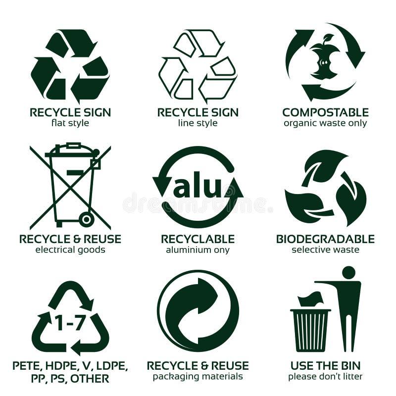Plan symbolsuppsättning för grönt förpacka för eco vektor illustrationer