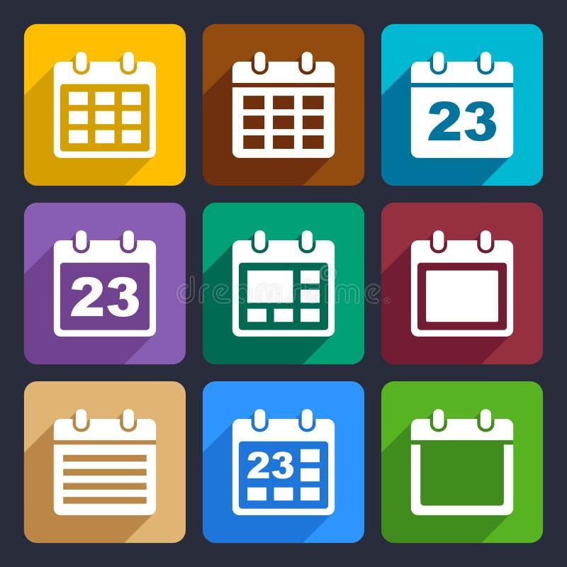 Plan symbolsuppsättning 21 för kalender royaltyfri illustrationer