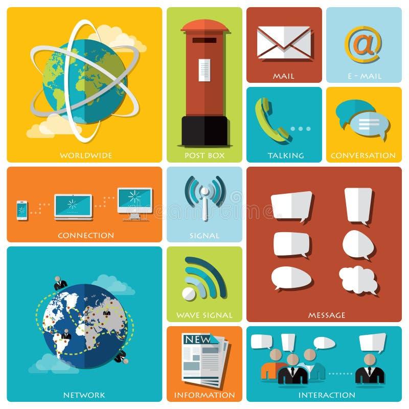 Plan symbolsuppsättning för kommunikation och för anslutning stock illustrationer