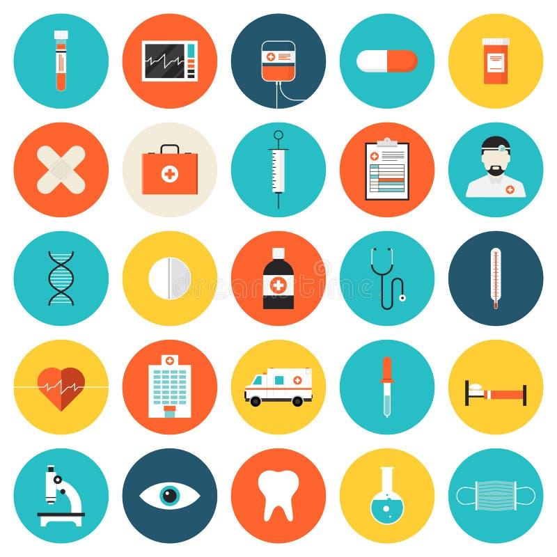 Plan symbolsuppsättning för läkarundersökning och för sjukvård vektor illustrationer