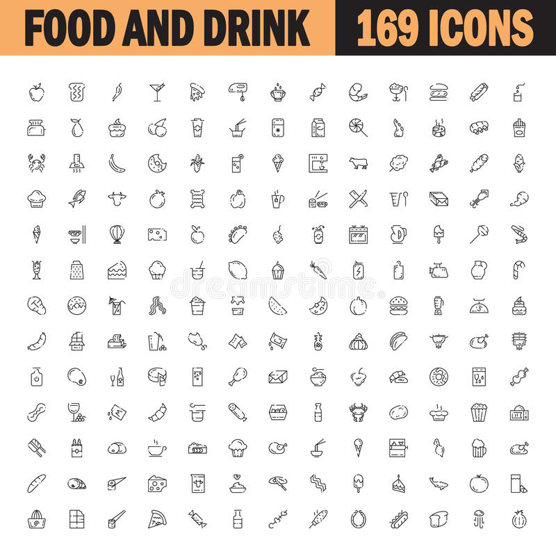 Plan symbolsuppsättning för mat och för drink royaltyfri illustrationer