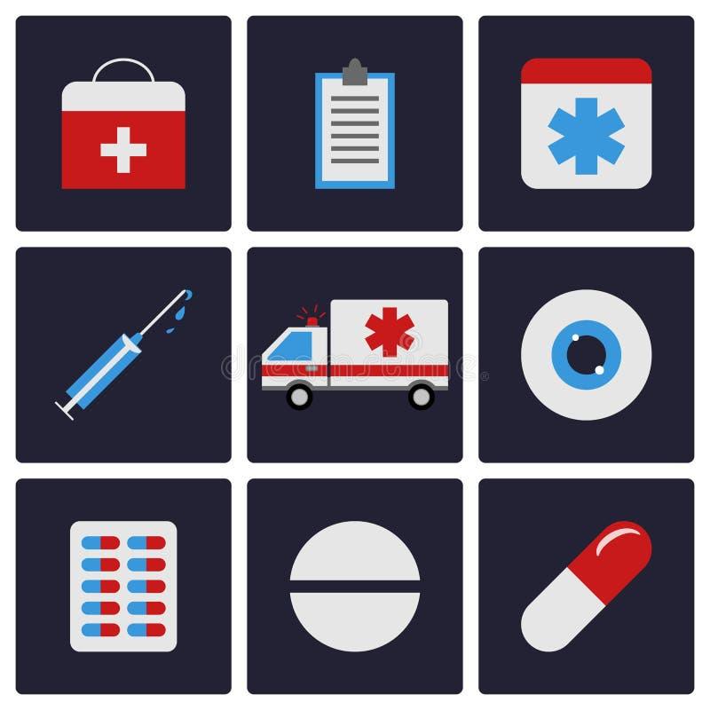 Plan symbolsuppsättning för medicin Ambulans piller, öga, minnestavla, injektionsspruta vatten för vektor för ny illustration för vektor illustrationer