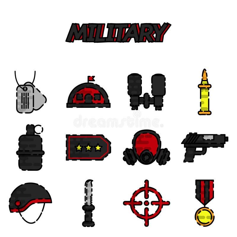 Plan symbolsuppsättning för militär stock illustrationer