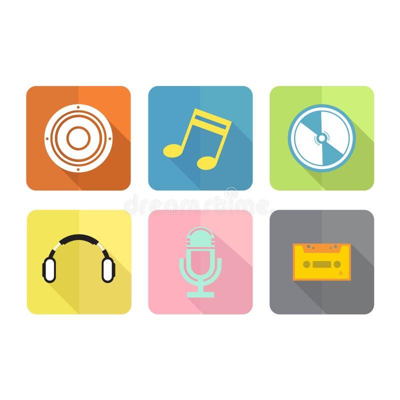 Plan symbolsuppsättning för musik royaltyfri illustrationer