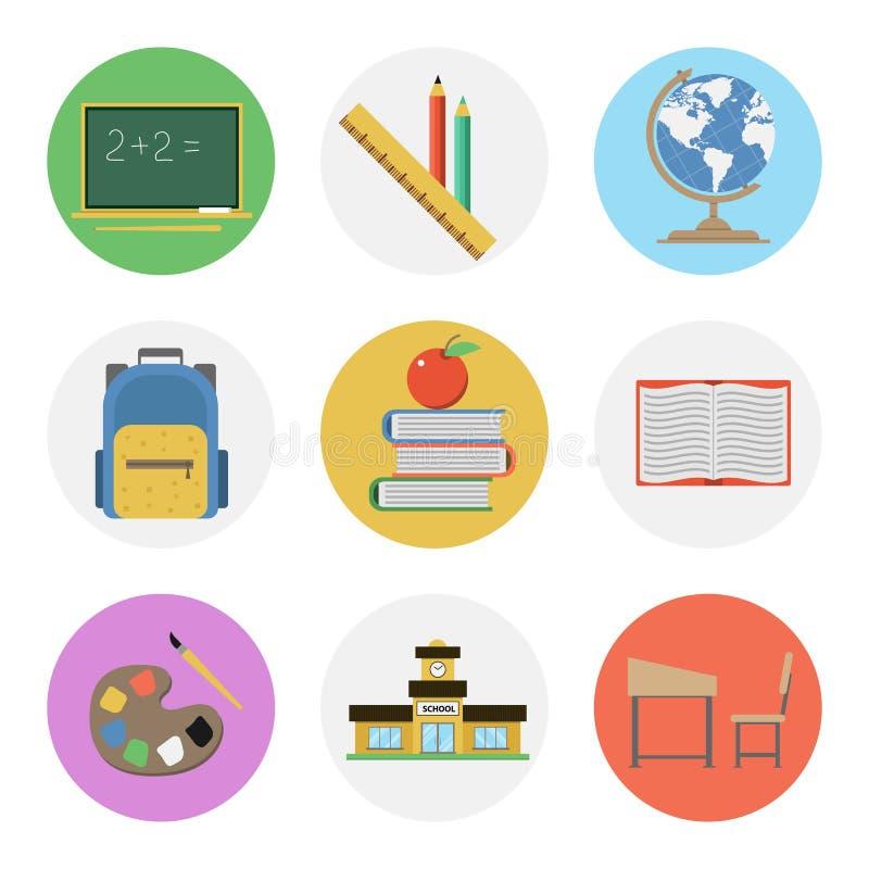 Plan symbolsuppsättning för nio färg - skola vektor illustrationer