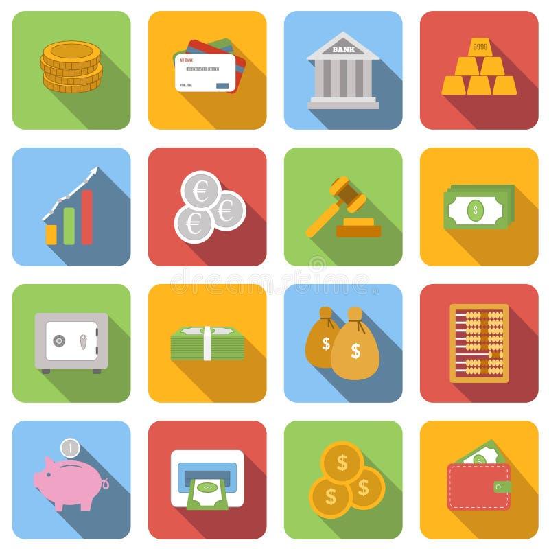 Plan symbolsuppsättning för pengar stock illustrationer