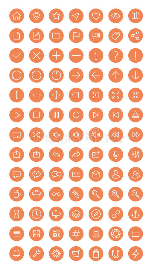 Plan symbolsuppsättning för rengöringsduk och för användargränssnitt royaltyfri illustrationer