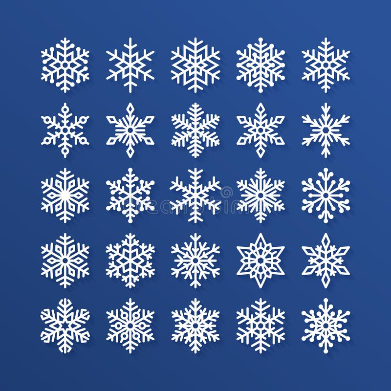 Plan symbolsuppsättning för snöflinga Samling av gulliga geometriska snöflingor, stiliserat snöfall Designbeståndsdel för jul ell royaltyfri illustrationer