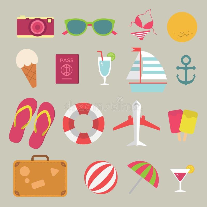 Plan symbolsuppsättning för sommar på stranden stock illustrationer