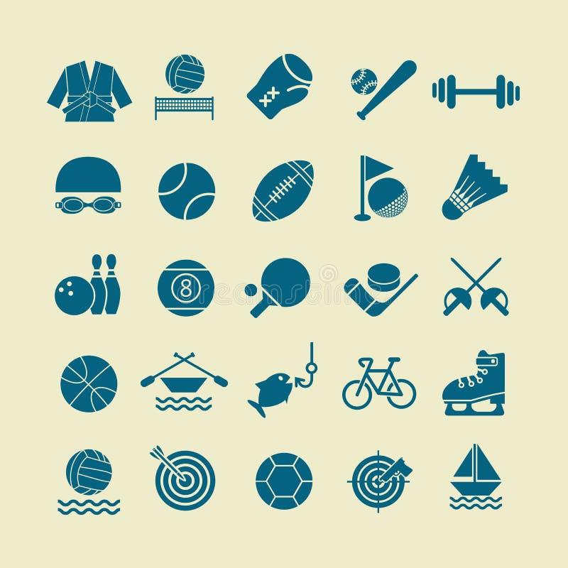 Plan symbolsuppsättning för sport för rengöringsduken och mobilen set01 vektor illustrationer