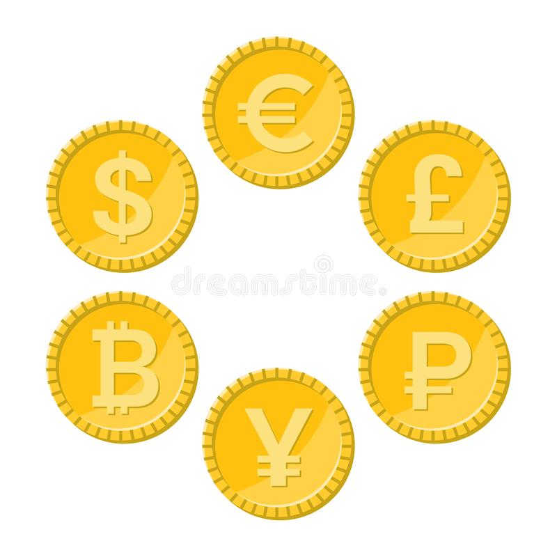 Plan symbolsuppsättning för valuta, guld- vektormynt royaltyfri illustrationer