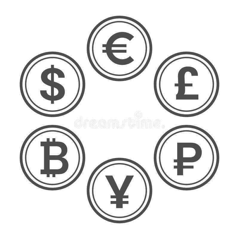 Plan symbolsuppsättning för valuta, linje stilvektormynt vektor illustrationer